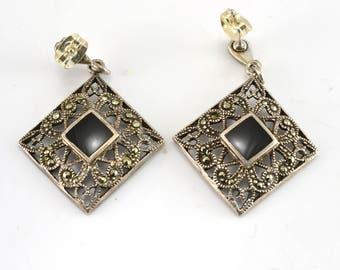 Onyx Earrings, Marcasite Earrings, Pierced Earrings, Sterling Earrings