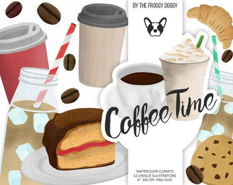 Coffee Watercolor Clipart Collection, Morning Clipart, Date Night Clipart, Starbucks Leaves, Dessert Clipart, Coffee Shop Cliparts