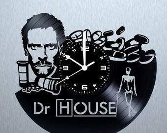 Vinyl disk DOCTOR HOUSE clock handmade