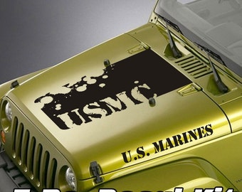 Jeep Wrangler Blackout Hood Decal 3 Piece Sticker US Marines Kit - USMC Splatter Design