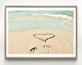 Heart Photography, Ocean Print, beach wall art, romantic art, heart in sand, nautical decor