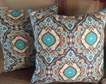 Charcoal Grey and Teal Set of 2 Decorative Pillows-Home Decor-Living Room-Bedroom-Handmade-17 x 17