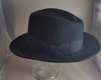 Vintage New York Hat Co Black Wool Felt Fedora Sz L