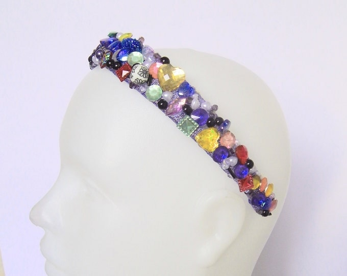 Multicolor headband, festival headdress, rainbow rave headdress, gift for women, rhinestones beaded designer carnival hair piece, hairdress