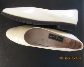 Cole Haan white patent leather mules, size 7.5
