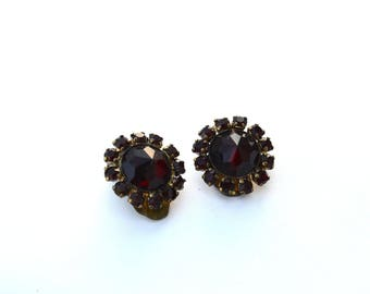 Early Rose Cut Garnet Clip Earrings