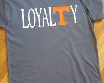 Vols Loyalty t-shirt.  Power T on charcoal gray shirt.
