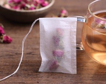 100 Pcs 7 cm x 5.5 cm Disposable Empty Filter Tea Bags with String