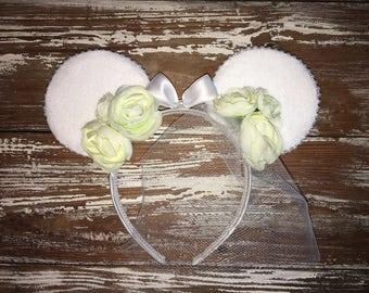 Bridal Ears, Disney Inspired Bride, Just Married Ears, Fascinator Veil Ears, Mickey Inspired Ears, Disney Inspired Ears, Mouse Ears