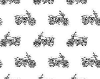 Girl Charlee Black Vintage Motorcycle on white Knit