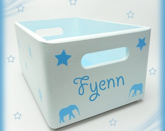 Wooden box storage chest desire name nursery elephant & stars