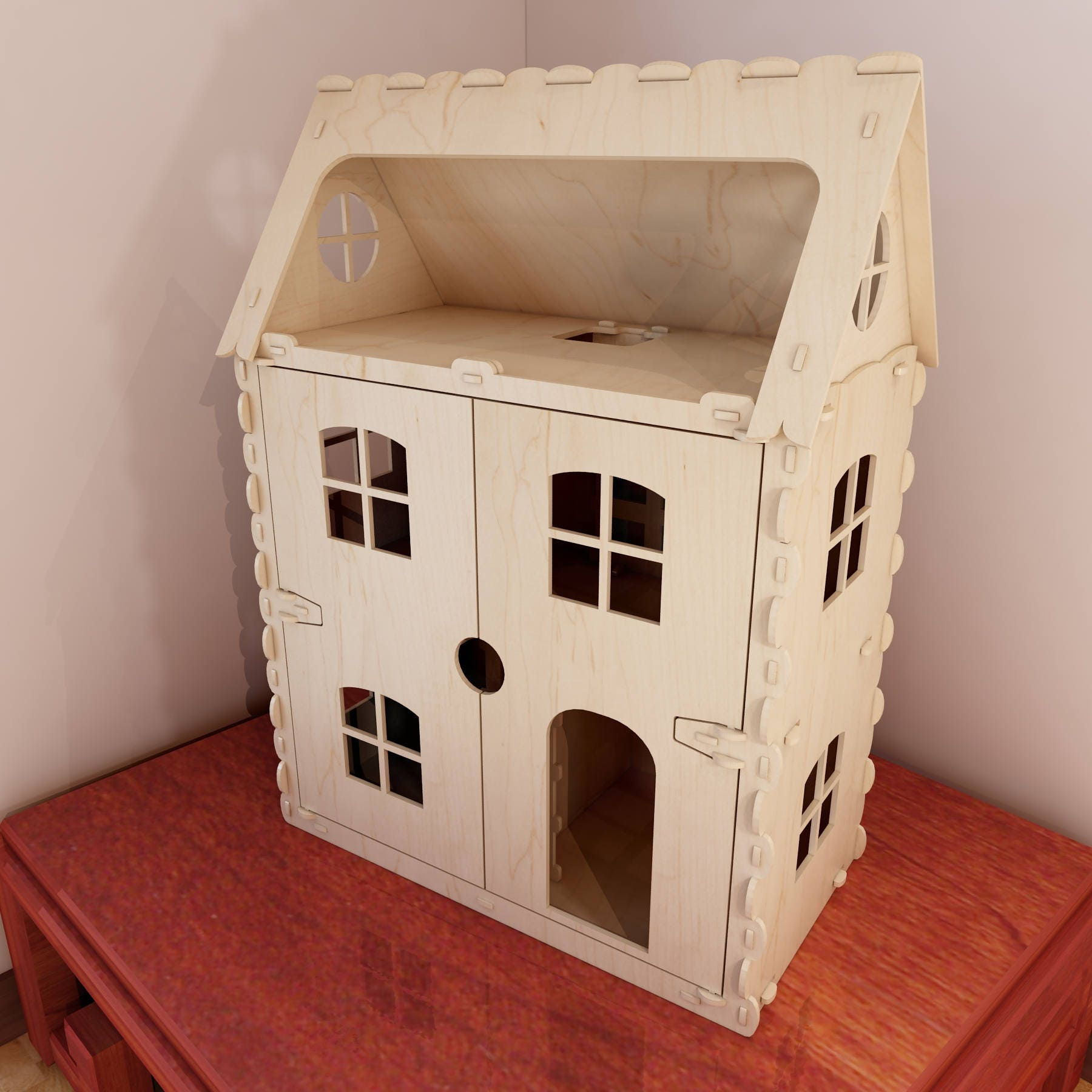 Front Opening Dollhouse V6 Laser Cutting Vector Plans Cnc