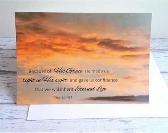 Scripture Encouragement Card Set x2, Orange Cloud Sunset, Titus 3:7, Baptism Bible verse, christian greeting, faith quote art, sympathy card