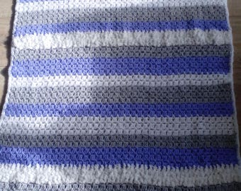 Stripes crochet blanket bedspread bed lilac grey