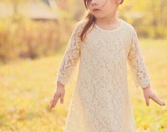 Toddler Little Girls Ivory Lace Dress Rustic Vintage Flower Girl Dress