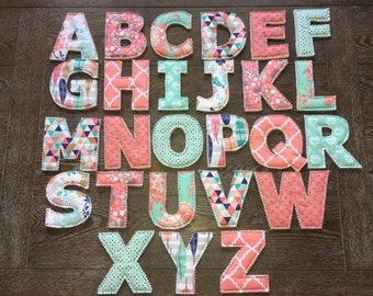 Fabric Letters - Full Alphabet - Mint & Coral