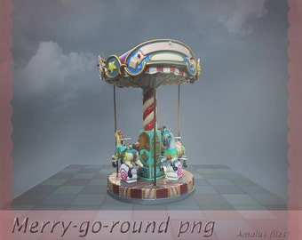 merry-go-round png, overlay, clear cut, carousel png