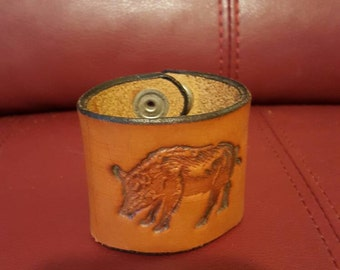 6 inch leather cuff with pig