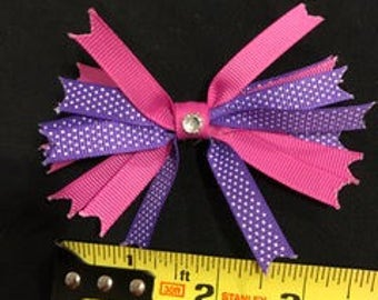 pink and purple with white polka dots