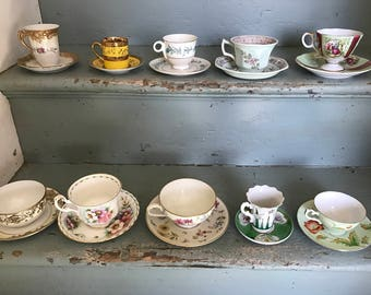 Lot of Vintage Teacups and Saucers--Have yourself a Tea Party!