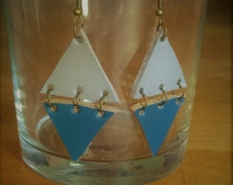 Earrings leather gray and blue triangles