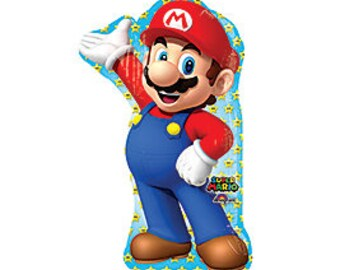 SHIPS FAST - Super Mario Brothers Balloon, Mario Balloon, 33 Inch Mario Balloon,  Mario Brothers Party SHIPS 2-3 Business Days