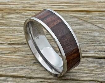 Men's Titanium Wood Ring With Hawaiian Koa Wood Inlay 8mm Comfort Fit Wedding Band