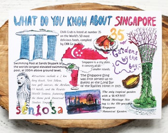 """Postcard """"What do you know about Singapore"""""""