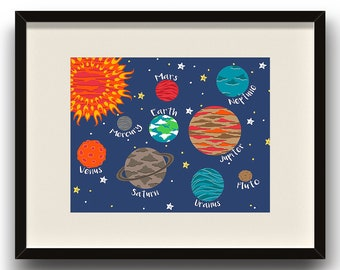 Planets - Solar System - Space DIGITAL ART - Kids, Home Decor, Playroom, Nursery, Bedroom - Instant Download