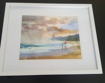 Original Watercolour: Walking a Dog on the Beach