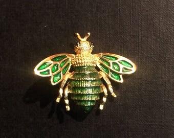 Vintage Enamel and Gold Tone Honey Bee Brooch