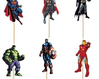 24 pieces avengers superheros cake cupcake toppers