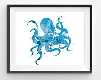 Blue Octopus Watercolor Print, Animal Print, Octopus Digital Print, Abstract Octopus Print, Octopus Art, Sea Animal Print, Kids Wall Art