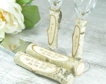 Toasting Glasses Flutes Rustic Cake Serving Set Personalized Knife Set Champagne Glasses Rustic Birch wedding Set