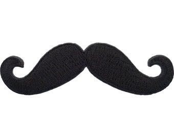 Moustache Iron On Badge Sew On Patch Black Embroidered Monopoly Mustache Motif