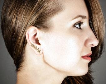 316L Surgical Steel Ear Vine, Ear Pin, Ear Crawler, Ear Sweep Earrings Leaves Choose Your Color