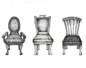 Chairs Trio Art Print