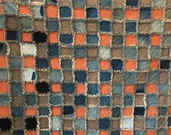 Denim/Red and Blue Homespun Rag Quilt