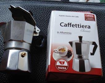 Vintage Aluminum Stove Top Espresso Maker/Made in Italy/ One Cup Italian Caffettiera Moka Italian Steam Percolator/1990s