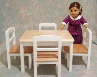 American Girl Doll Table and 4 Chairs - White and Maple