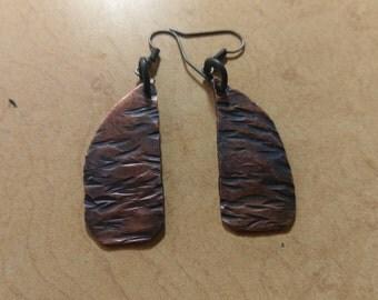 Textured copper earrings