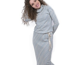 Organic Clothing Women's Dress Loose High Quality Organic Cotton Bamboo Clothing  Guest Dress Mid Calf Length