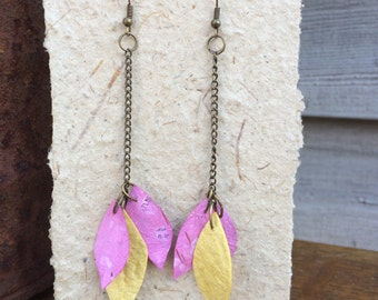 Handmade Pink Leaf and Petal Shaped Earrings made from Handmade Paper