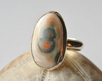 Sterling silver ocean jasper ring