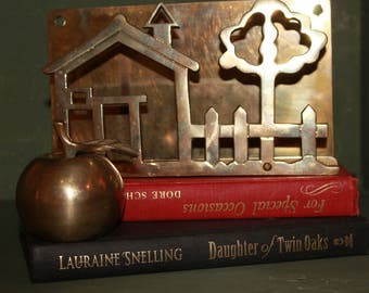 Brass Apple, Vintage Brass Apple Bell And School House/Tree Letter Holder
