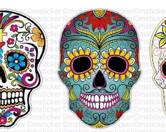3x Sugar skull Sticker Aufkleber Autocollant Pegatinas digital Print Car Bike Racing Tuning  Sponsor Helmet JDM Notebook