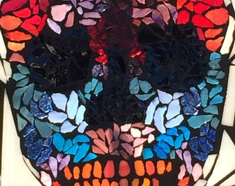 Mosaic on Glass Day of the Dead Sugar Skull