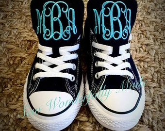 Monogrammed Converse Shoes - 19 Colors - Adult Womens & Men - Monogrammed Low Top Converse - Wedding Day Converse - Monogrammed Shoe