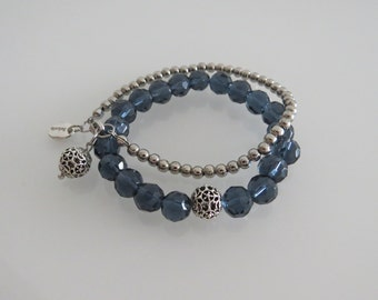 Bracelet set crystals blue silver charm beaded