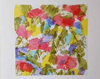 Abstract. Floral Art Collage Greeting Card